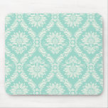 aqua and cream fleur elegant damask mouse pads