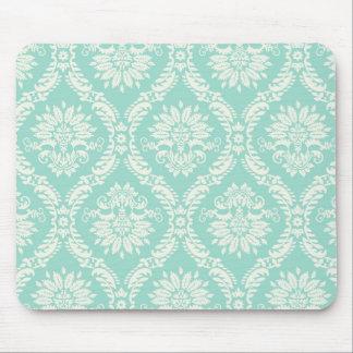 aqua and cream fleur elegant damask mouse pads