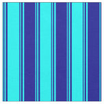 [ Thumbnail: Aqua and Dark Blue Colored Lined/Striped Pattern Fabric ]