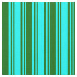 [ Thumbnail: Aqua and Dark Green Colored Lines Pattern Fabric ]