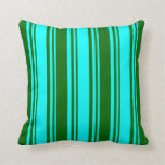[ Thumbnail: Aqua and Dark Green Colored Lines Pattern Pillow ]