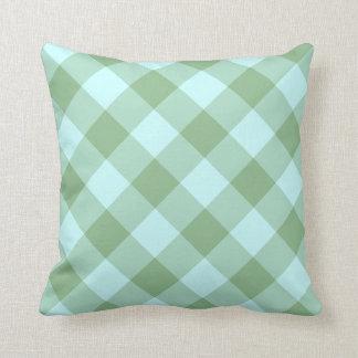 Aqua and Dark Sea Green Gingham Throw Pillows