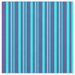 [ Thumbnail: Aqua and Dark Slate Blue Colored Stripes Fabric ]