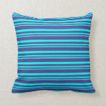 [ Thumbnail: Aqua and Dark Slate Blue Colored Stripes Pillow ]