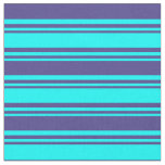 [ Thumbnail: Aqua and Dark Slate Blue Stripes Pattern Fabric ]