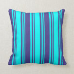 [ Thumbnail: Aqua and Dark Slate Blue Stripes Pattern Pillow ]