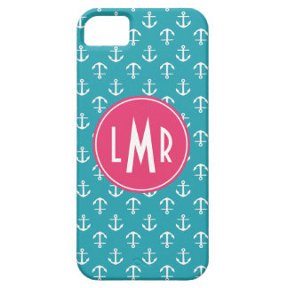 Aqua and Fuchsia Monogram Anchors Pattern iPhone SE/5/5s Case