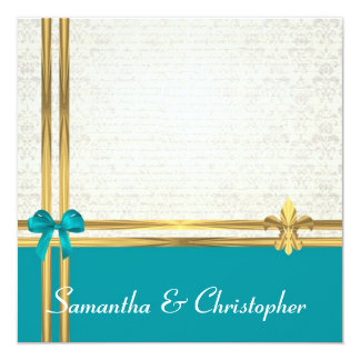 Aqua and gold damask wedding 5.25x5.25 square paper invitation card