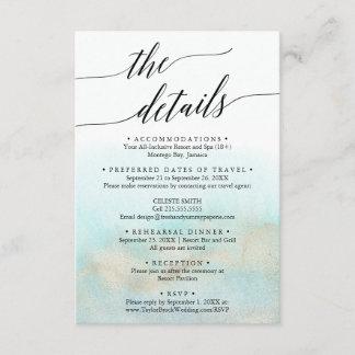 Aqua and Gold Destination Wedding Travel Details Enclosure Card