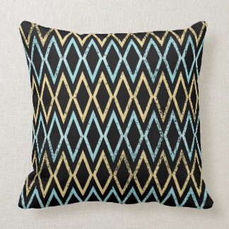 Aqua and Gold Diamonds on Black Pillow