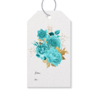 Aqua and Gold Floral Gift Tags
