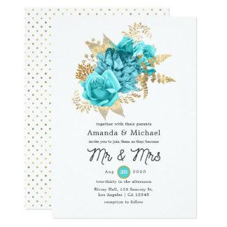 Aqua and Gold Floral Wedding Invitation