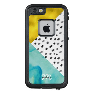 Aqua and Gold Mixed Media Monogrammed LifeProof FRĒ iPhone 6/6s Case