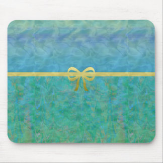 Aqua and Gold Ribbon Abstract Mouse Pad