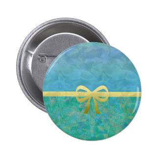 Aqua and Gold Ribbon Abstract Pinback Button