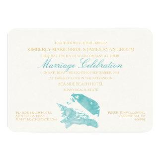 Aqua and Gold Seashell Beach Wedding Invitation