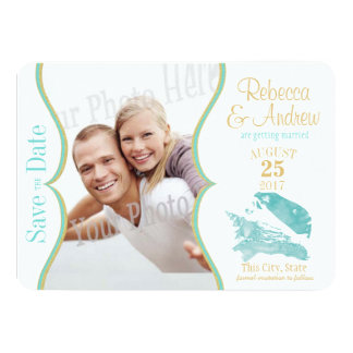 Aqua and Gold Seashell Save the Date Card