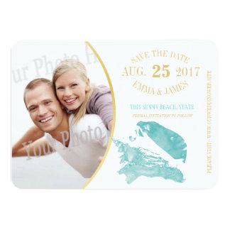Aqua and Gold Seashell Save the Date Card
