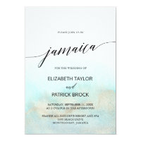 Aqua and Gold Watercolor Beach Jamaica Wedding Invitation