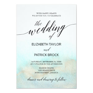 Turquoise and Gold Wedding Invitations Watercolor Beach