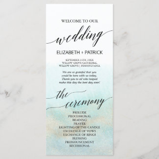 Aqua and Gold Watercolor Beach Wedding Program