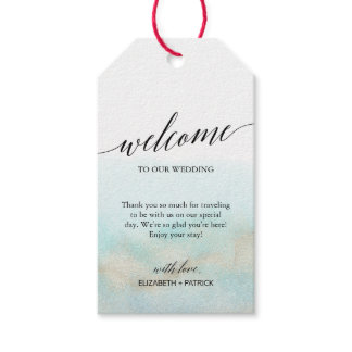 Aqua and Gold Watercolor Beach Wedding Welcome Gift Tags