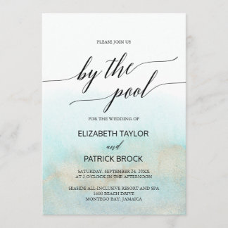 Aqua and Gold Watercolor By The Pool Wedding Invitation