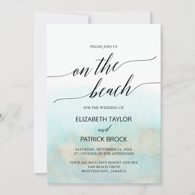Aqua and Gold Watercolor On The Beach Wedding Invitation