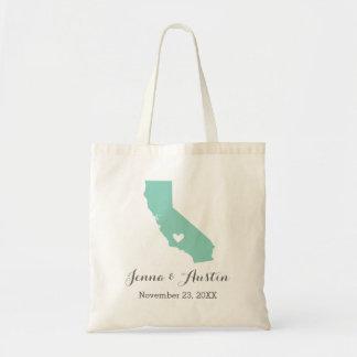 Aqua and Gray California Wedding Welcome Tote Bag