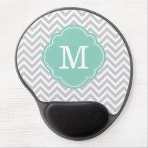 Aqua and Gray Chevron Custom Monogram Gel Mouse Pad