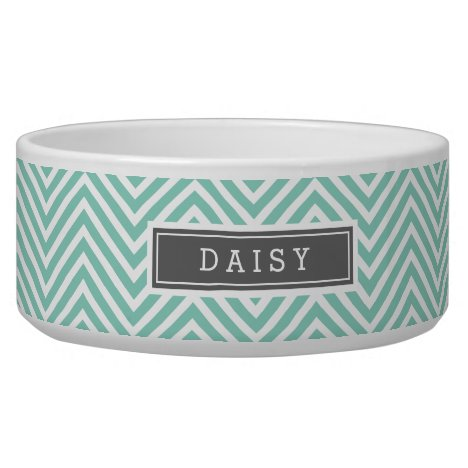 Aqua and Gray Chevron Monogram Bowl