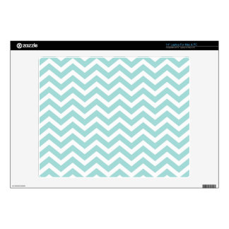 "Aqua and gray chevron pattern 14"" laptop decal"