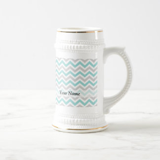 Aqua and gray chevron pattern beer stein