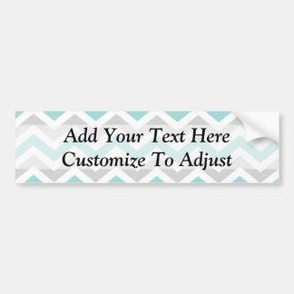 Aqua and gray chevron pattern bumper sticker