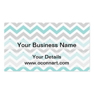 Aqua and gray chevron pattern Double-Sided standard business cards (Pack of 100)
