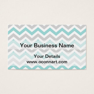 Aqua and gray chevron pattern business card
