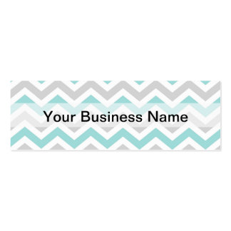 Aqua and gray chevron pattern Double-Sided mini business cards (Pack of 20)