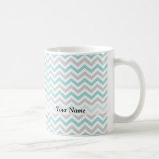 Aqua and gray chevron pattern coffee mug