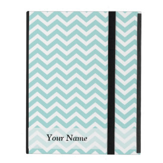 Aqua and gray chevron pattern iPad folio case