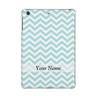 Aqua and gray chevron pattern iPad mini cases