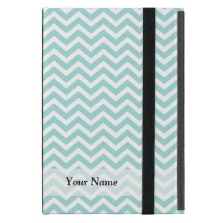 Aqua and gray chevron pattern iPad mini cover