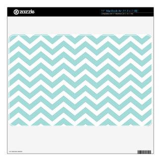 Aqua and gray chevron pattern MacBook air decals