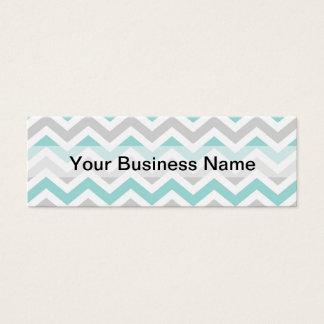 Aqua and gray chevron pattern mini business card