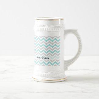 Aqua and gray chevron pattern 18 oz beer stein