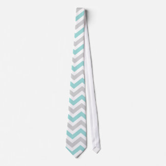 Aqua and gray chevron pattern neck tie