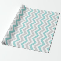 Aqua and gray chevron pattern wrapping paper
