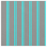 [ Thumbnail: Aqua and Gray Colored Stripes Pattern Fabric ]