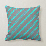 [ Thumbnail: Aqua and Gray Colored Stripes Pattern Throw Pillow ]