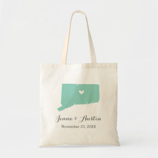 Aqua and Gray Connecticut Wedding Welcome Tote
