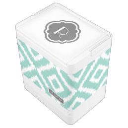 Aqua and Gray Ikat Diamonds Monogram Drink Cooler